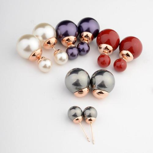 Korean-Style Celebrity Inspired Fashion Pearl Ear Stud Sweet Temperament Girl Ear Stud Double-Sided Pearl Stud Earring 87056