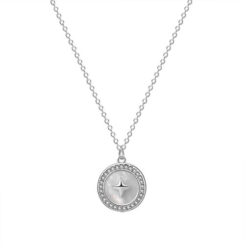S925 Sterling Silver White Shell round Silver Necklace Ins Fashion Vintage Pendant Clavicle Chain Mla1884