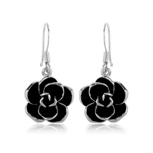 Valentine's Day Gift Korean Fashion All-match Black Rose Ear Ring Earrings Elegant Commuter Stud Earring 881005