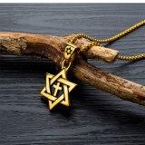 Accessories Wholesale Men's Cross Necklace Six-Pointed Star Titanium Ornament Vintage Pendant Necklace Gb1502