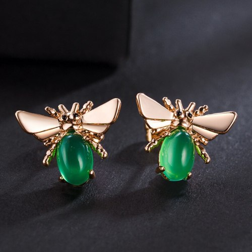 New Korean Style Emerald Bee Ear Stud 925 Silver Pin Earrings Fashion Alloy Crystal Ear Stud 87917