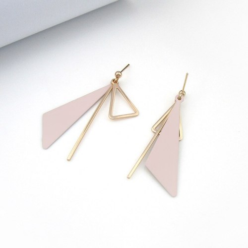 Elegant All-match Triangle Ear Stud Long Tassel Ear Pendant Girl's Ear Stud Cool Simple Jewelry 800084