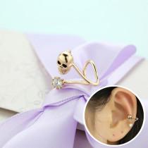 Earrings Women's Korean Series Fashion All-match New Style Skull Ear Clip Pierceless Zircon Earrings 125749