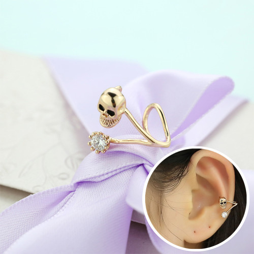 Earrings Women's Korean Series Fashion All-match New Style Skull Ear Clip Pierceless Zircon Earrings 125749
