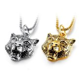 Best Selling Men's Necklace Cool Titanium Steel White Tiger Pendant Assertive Tiger Head Pendant Necklace Gb1504