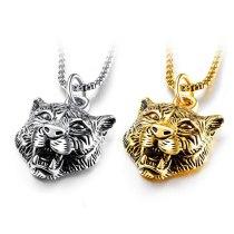 Best Selling Men's Necklace Cool Titanium Steel White Tiger Pendant Assertive Tiger Head Pendant Necklace Gb1504