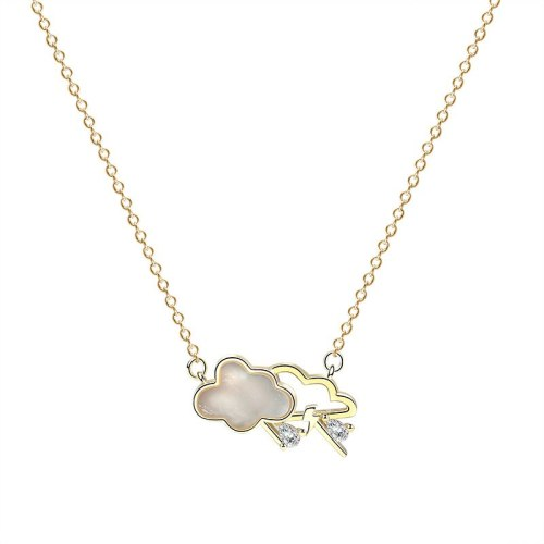 S925 Sterling Silver Cloud Shell Necklace Female Fashion Creative Korean-Style White Shell Clavicle Chain Mla1820