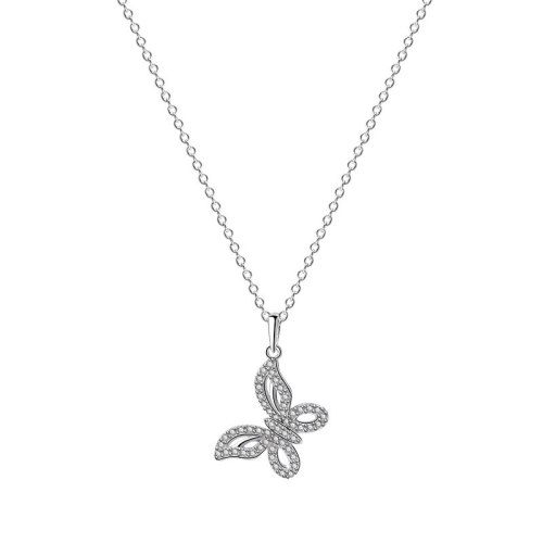 Butterfly Necklace Female S925 Sterling Silver Necklace Ins Korean Micro Pave Zircon Clavicle Chain Silver Jewelry Mlya0096
