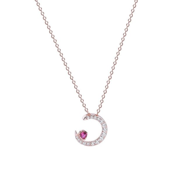 S925 Sterling Silver Ornament All-match Moon Clavicle Chain Women's Micro Pave Zircon Pendant Wholesale Choker Mla1497