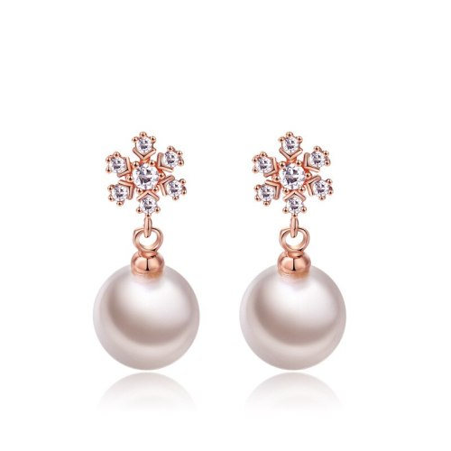 Korean Series Fashion Earrings Simple Atmosphere Zircon Imitation Pearl Stud Earring 18K Gold Electroplated Jewelry 087771