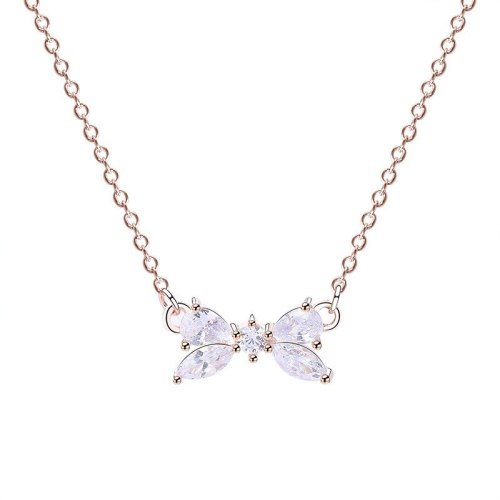 S925 Sterling Silver Necklace Jewelry Female Korean All-match Bow Necklace Zircon Set Short Clavicle Chain Wholesale Mla388a