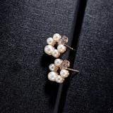 Korean Fashion Small Number Zircon Pearl Ear Stud Sweet Temperament All-match Small Flower Earrings Jewelry Wholesale 85584