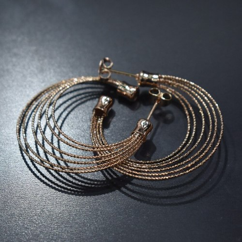 Fashion Earrings Simple Ins Stereo Multi-Layer Ring Ring Ear Stud Gold-Plated All-match Earrings Ear Ring 800188