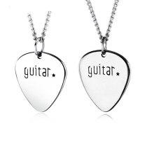 Guitar Pick Cool Music Titanium Steel Necklace Rock Hip Hop Pendant Men and Women Titanium Steel Necklace Jewelry Gb1505
