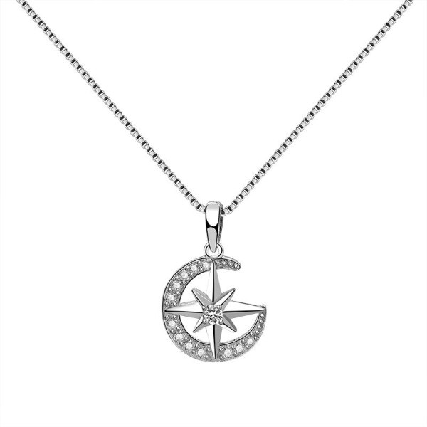 S925 Sterling Silver Moon Necklace Pendant Female Fashion Retro Korean Six-Pointed Star Clavicle Chain Pendant Silver Mla1881