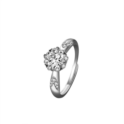 S925 Sterling Silver Ring Rose Women's Ring Korean Fashion Trend Diamond Set Open Proposal Diamond Ring Mlk666