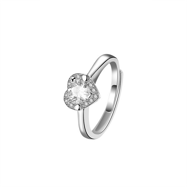 S925 Sterling Silver Lovely Zircon Ring Female Korean-Style Diamond-Set Heart-Shaped Ring Ins Small Jewelry Mlk793