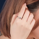 Ring S925 Sterling Silver Japanese and Korean Fashion New Style Four Claw Zircon Hollow Ring Female Mlk806