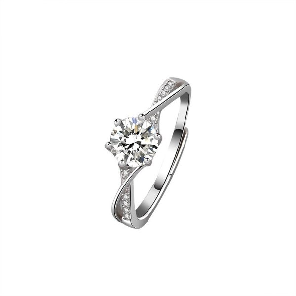 S925 Sterling Silver Ring Six-Claw Diamond Set Ring Ornament Korean-Style Open Proposal Ring Mlk678