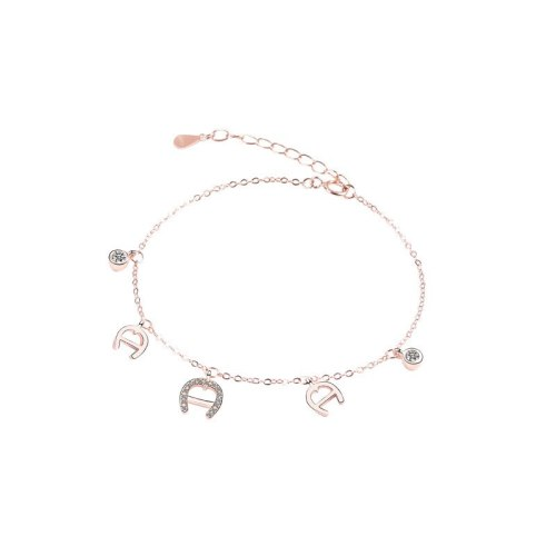 S925 Sterling Silver New Korean-Style Micro-Inlaid Zircon Creative Lettered U-Shaped Horseshoe Women Bracelet L423