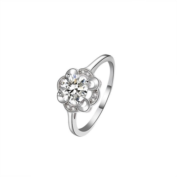S925 Sterling Silver Ring Women's Proposal Ring Ornament Korean-Style Flower Ring Silver Mlk677
