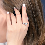 S925 Sterling Silver Ring Women's Proposal Ring Fashion European and American Diamond Set Open Ring Wholesale Mlk669