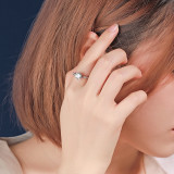 S925 Sterling Silver Ring South Korea New Super Shiny 6 Claw Zircon Ring Female Silver Hair Mlk828