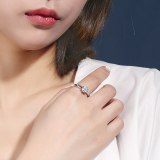 S925 Sterling Silver Ring Female Ins Korean-Style Diamond Set Classic Six-Claw Ring Silver Accessories Mlk679