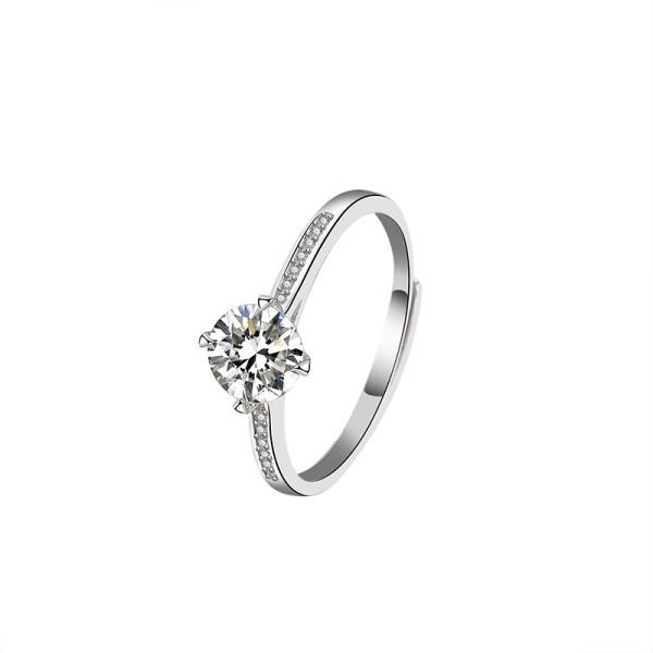 S925 Sterling Silver Moisite Carat Ring Women's Fashion Korean-Style Diamond Ring Silver Ring Mlk681