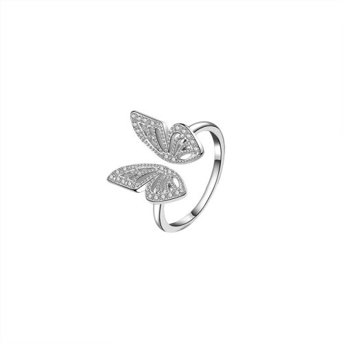 S925 Sterling Silver Butterfly Ring Fashion Retro European and American Micro Pave Zircon Open Ring Mlk719