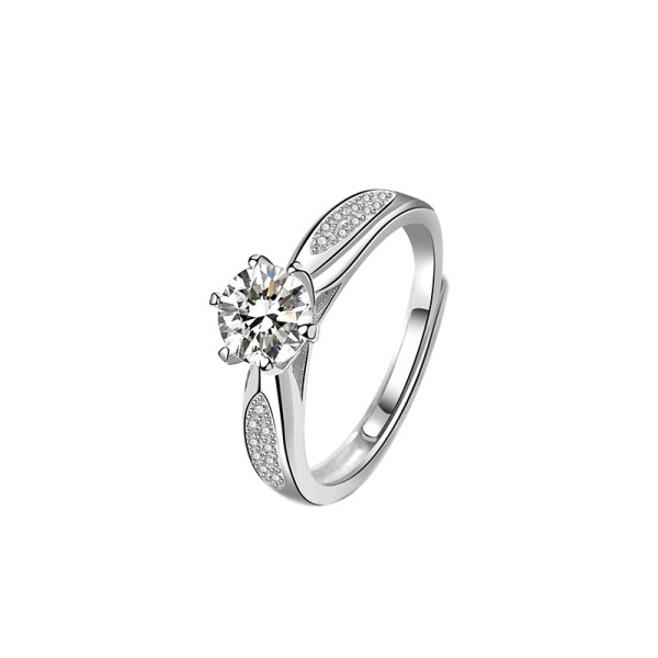S925 Sterling Silver 2020 South Korea East Gate New Six-Claw Zircon Ring Female Hand Jewelry Mlk643
