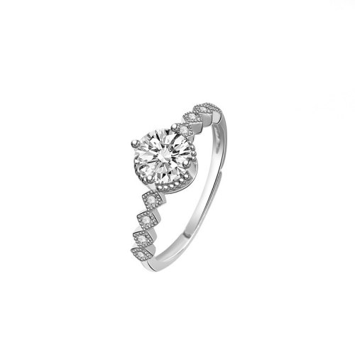 S925 Sterling Silver Ring Female Korean Ornament Fashion Trends Ms. Proposed Diamond Four Claw Ring MlK675