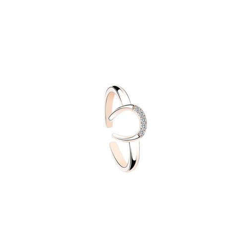 S925 Sterling Silver Ring Ornament Female Korean-Style All-match U-Shaped English Lettered Ring Wholesale Mlk791