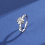 S925 Sterling Silver Ring Rose Women's Ring Korean Fashion Trend Diamond Set Open Proposal Diamond Ring Mlk666