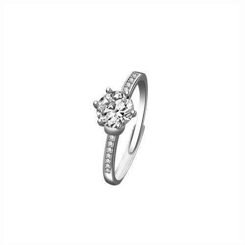 S925 Sterling Silver Six-Claw Moissanite Carat Ring Female Fashion Korean-Style Stylish Open Micro Pave Diamond Ring Mlk665