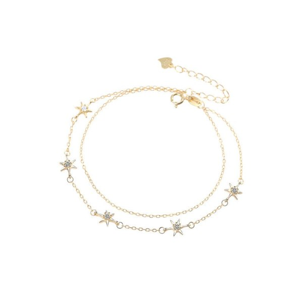 S925 Sterling Silver Star Diamond Bracelet Women's Delicate Six-Pointed Star Double-Layer Hand Jewelry Bracelet Gifts L411