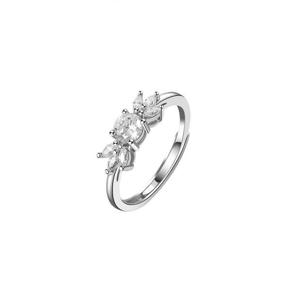 S925 Sterling Silver Zircon Ring Female Fashion Retro Korean Diamond Ring Silver Mlk823