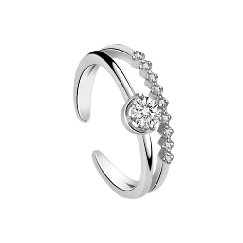 S925 Sterling Silver Open Ring European and American New Micro Pave Zircon Ring Fashion Trend Ring Mlk711
