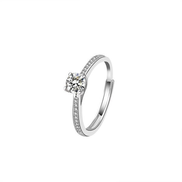 S925 Sterling Silver Open Ring Classic Four Claw Zircon Ring Fashion Women's Proposal Diamond Set Ring Mlk644