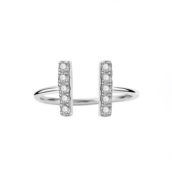 S925 Sterling Silver Zircon Ring Female Fashion European and American Micro Diamond Set Simple Ring Silver Mlk700