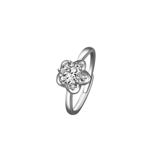 S925 Sterling Silver Moissanite Carat Ring Female Korean Fashion Flower Diamond Set Open Ring Silver Jewelry Wholesale Mlk671