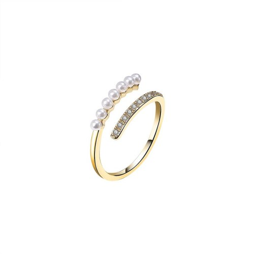 S925 New Sterling Silver Ring Female Japanese and Korean Zircon Micro Pave Pearl Fashion Ring Silver Jewelry Mlk705
