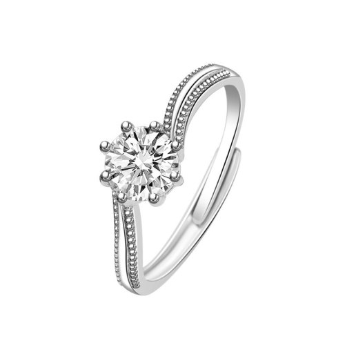 S925 Sterling Silver Moissanite Carat Ring for Women Ins Korean Version of the Ornament Open Port Diamond Ring Wholesale MlK676