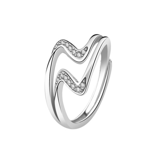 S925 Sterling Silver Ring South Korea Dongdaemun New Wave Zircon Popular Ring Female Small Jewelry Wholesale Mlk707