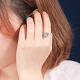 S925 Sterling Silver Zircon Ring Female Fashion Korean Creative Diamond Set Hand Jewelry Silver Ring Wholesale Mlk813