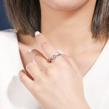 S925 Sterling Silver Ring Women's Fashion Korean-Style Diamond Set Classic Six-Claw Ring Accessories Mlk680