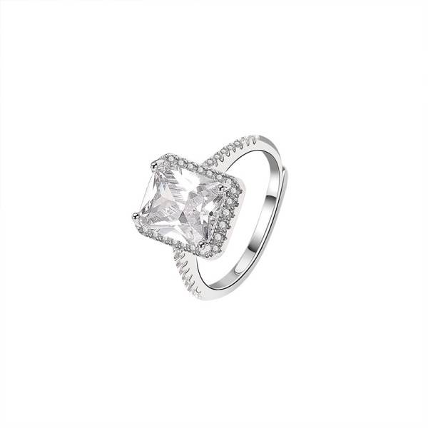 S925 Sterling Silver Ring Square Zircon Ring Ins Fashion Diamond Set Open Women's Ring Source Factory Mlk815