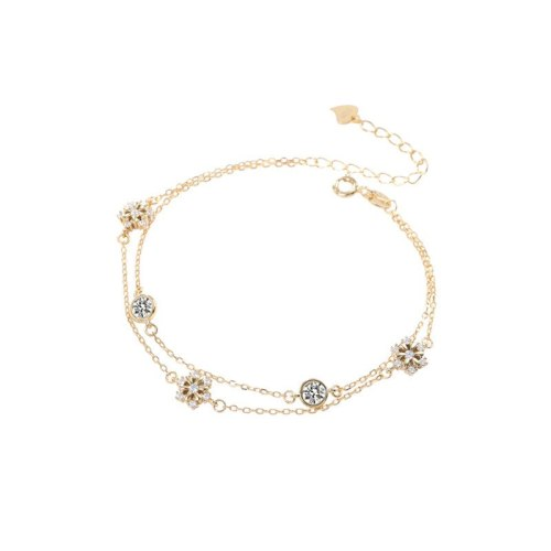 S925 Sterling Silver Wrist Decorator Snowflake Micro Pave Bracelet Women Fashion Double Layer round Diamond Hand Jewelry L413