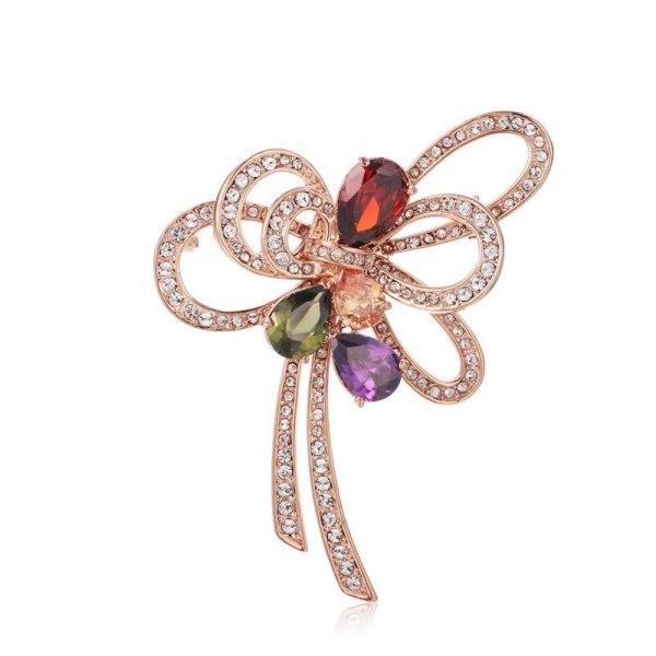 Brooch Ornament Female Fashion Korean Atmosphere All-match Zircon Bow Brooch Warm Heart Gift 053398