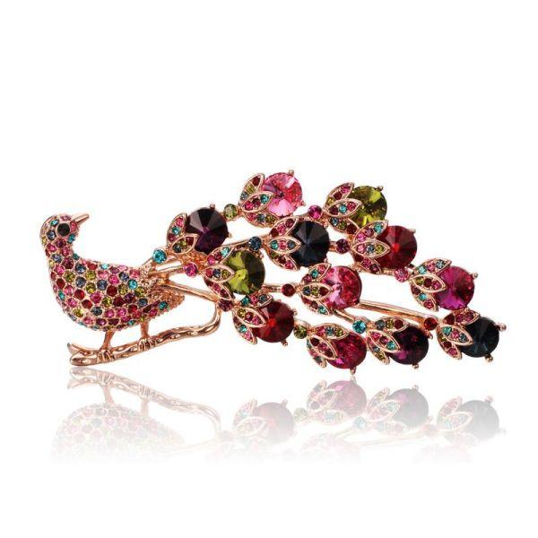 Brooch Ornament Crystal Brooch Fashion All-match Colorful Peacock Brooch 053379